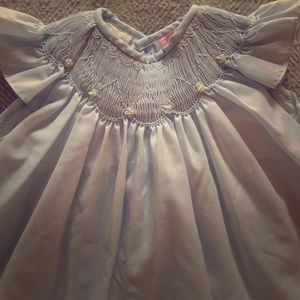 Petit Ami smocked, hand embroidered dress, 9 mo